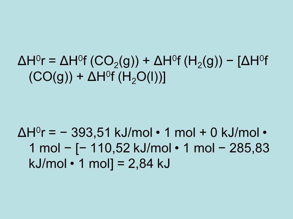 ΔH0r = ΔH0f (CO2(g)) + ΔH0f (H2(g)) − [ΔH0f (CO(g)) + ΔH0f (H2O(l))]